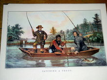 Currier & Ives -  Catching A Trout