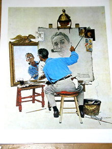 Norman Rockwell Print - Triple Self Portrait