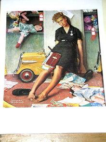 Norman Rockwell Print - Christmas Rush