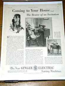 Singer Electric Sewing Machine  Advertisement