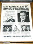 Jack Benny Sunday Radio Show  Advertisement