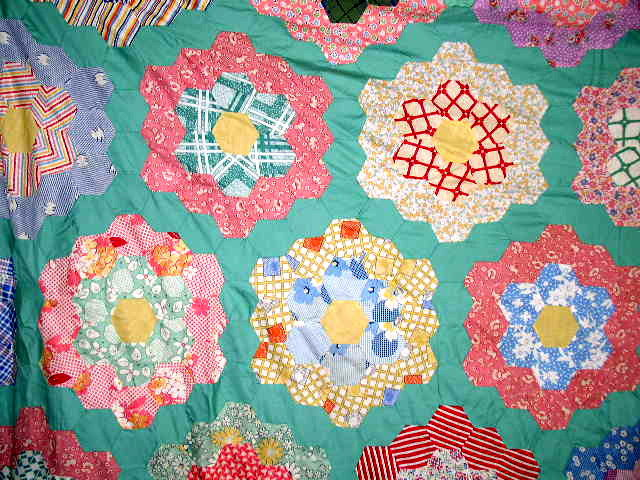 Grandmother's Flower Garden Quilt Top -  QTP