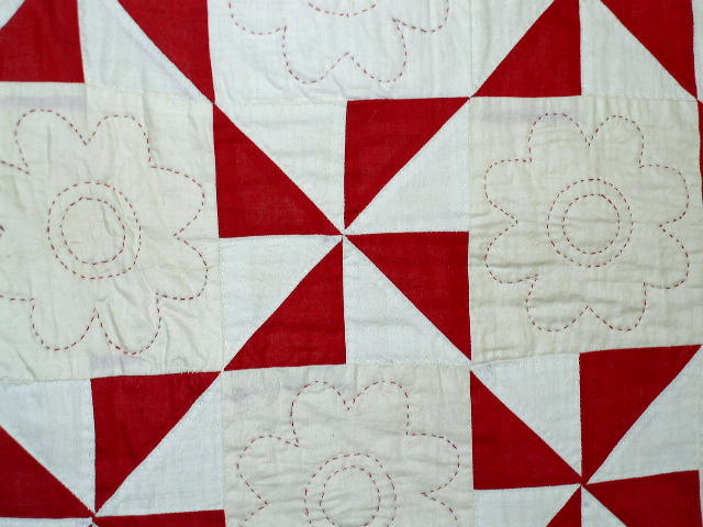 Red and White Pinwheel Quilt -  QLT