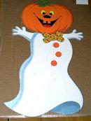 Halloween Diecut Dennison Jack-o-Lantern Headed Ghost