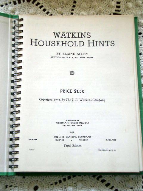 Watkins Household Hints -  Book