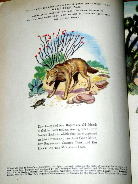 Dale Evans and the Coyote, First Printing,  Little Golden Book