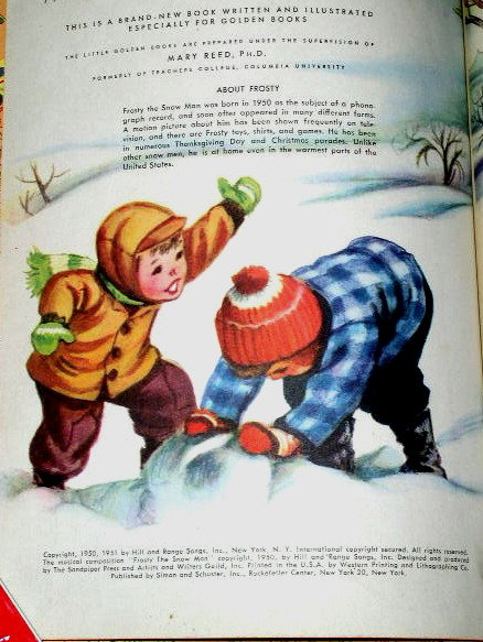 Frosty The Snow Man,  First Printing, Little Golden Book