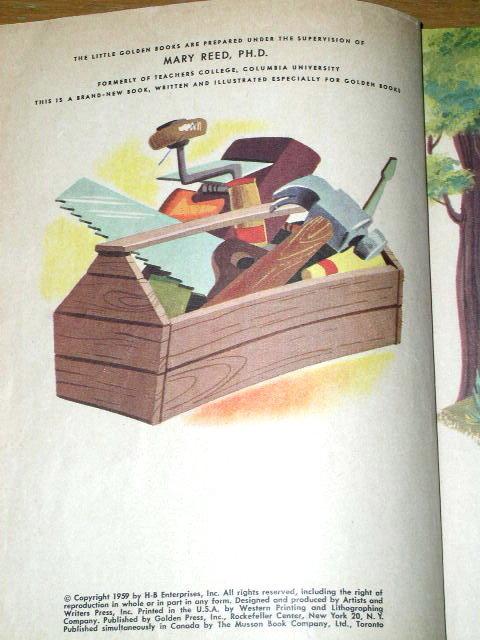 Huckleberry Hound Builds A House,  Third Printing,  Little Golden Book