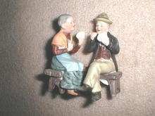 Lefton Old Man & Lady Playing Cards  -  FG