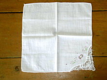 Embroidered and Lace Handkerchief