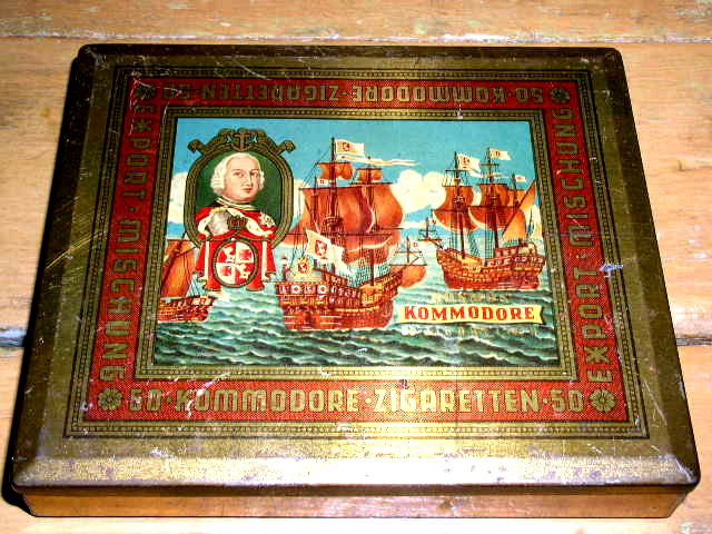 German Cigarette Tin - Kommodore Brand
