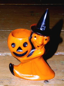 Witch and Jack-o-Lantern Plastic Candy Container