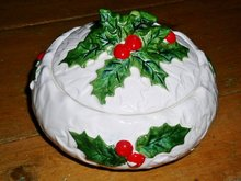 Lefton White Holly Candy Dish