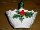 Lefton White Holly Basket