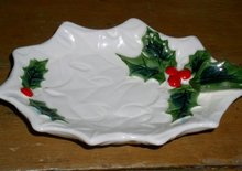 Lefton White Holly Leaf Dish