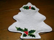 Lefton White Holly Tree Plate