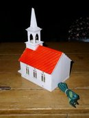 Plastic Lighted Church Christmas Decoration
