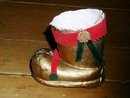 Paper Mache Santa Boot Candy Container