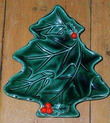 Lefton Green Holly Tree Dish