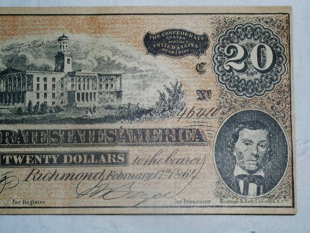 Confederate Currency $20.00 Banknote, Counterfit,