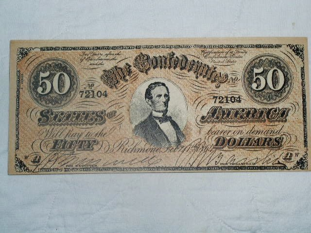 Confederate Currency $50.00 Banknote, Counterfit,