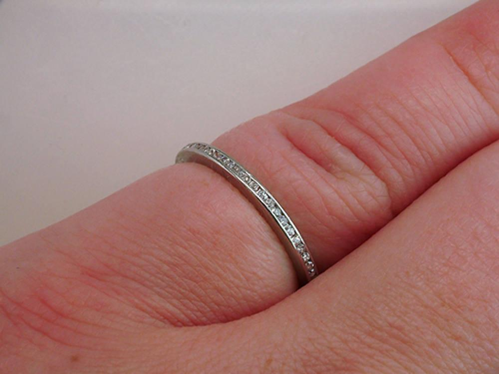 Vintage Antique .60 Carat Diamond Platinum Art Deco Wedding Eternity Ring Band