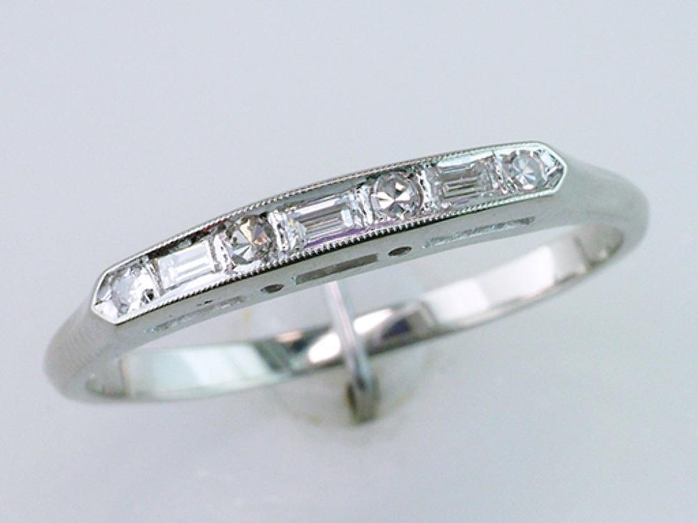 Deco Vintage Antique GIA 1.17ct Diamond 14K Gold Engagement Ring Bridal Set