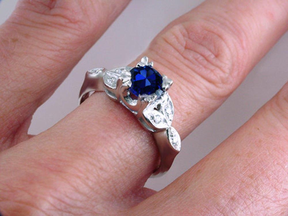 Art Deco Vintage Antique 1.23ct Sapphire & Diamond Platinum Engagement Ring