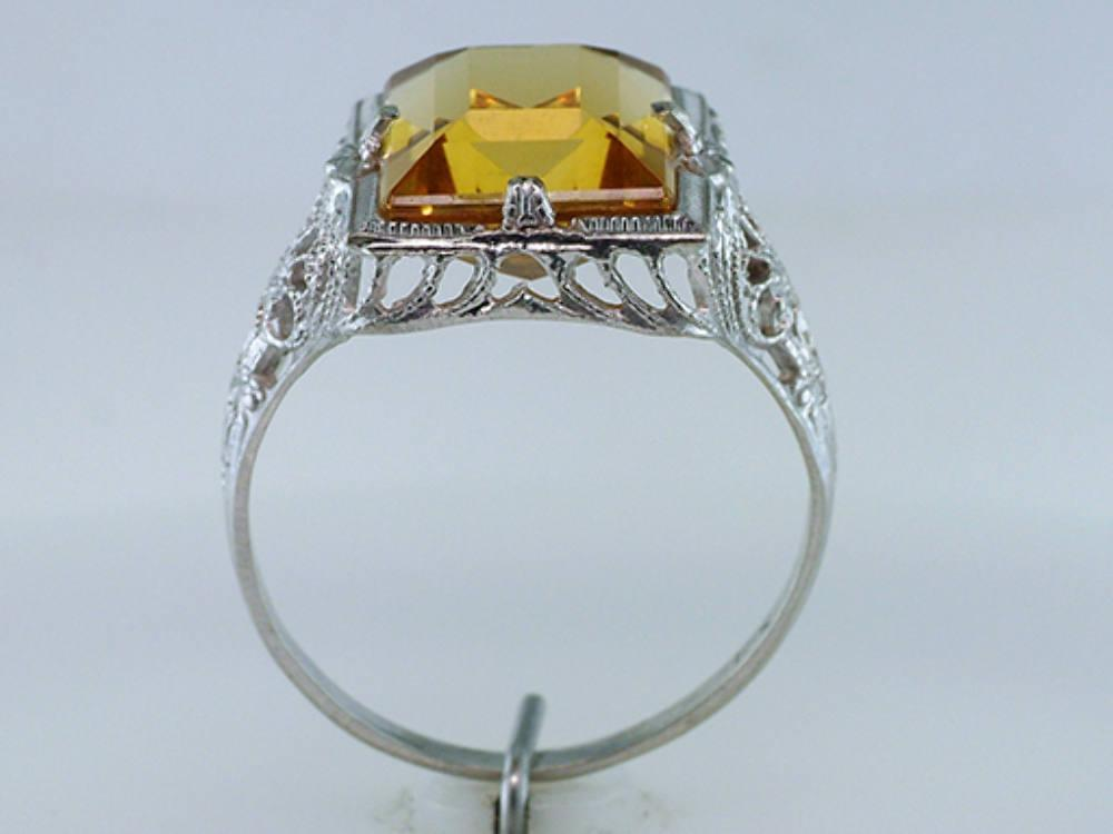 Vintage Antique Giant 4.00ct Yellow Yopaz White Gold Art Deco Cocktail Ring