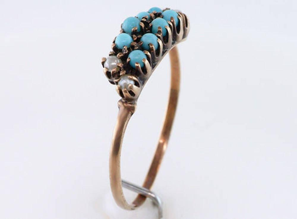Vintage Antique Turquoise & Pearl 14K Gold Victorian Cocktail Ring
