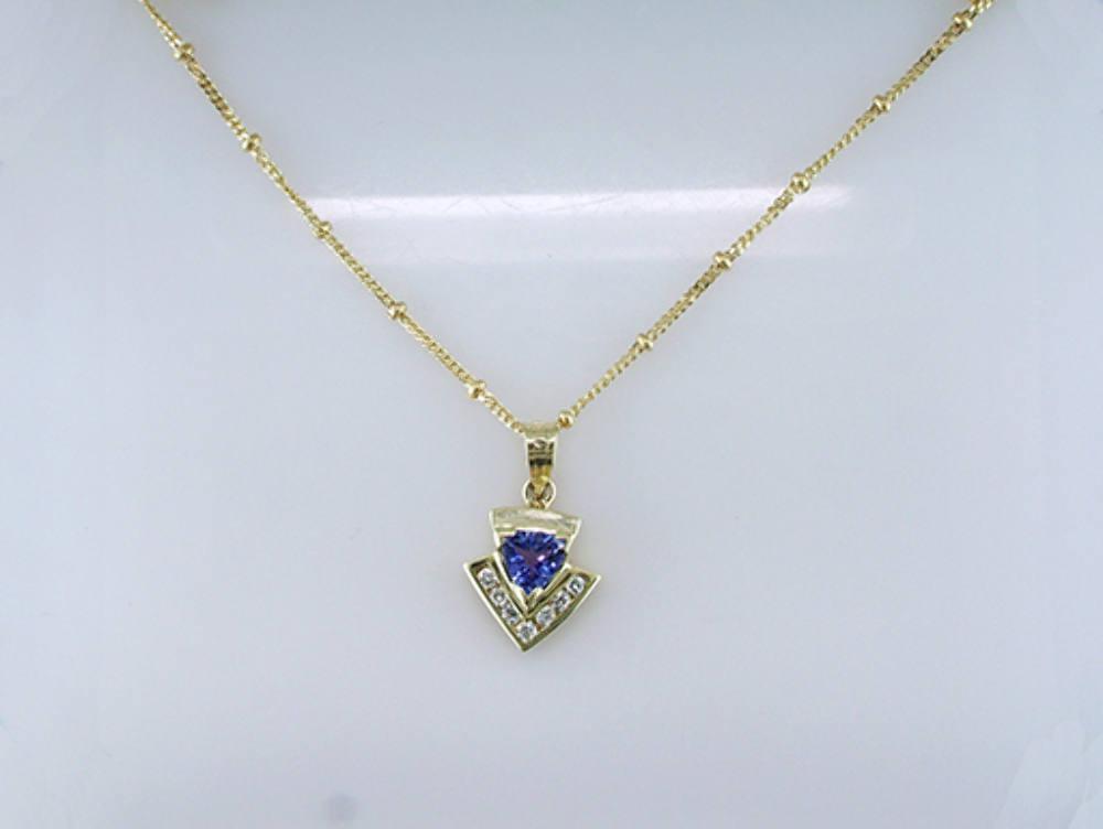 Brand New .65ct Diamond Tanzanite 14K Yellow Gold Necklace Pendant