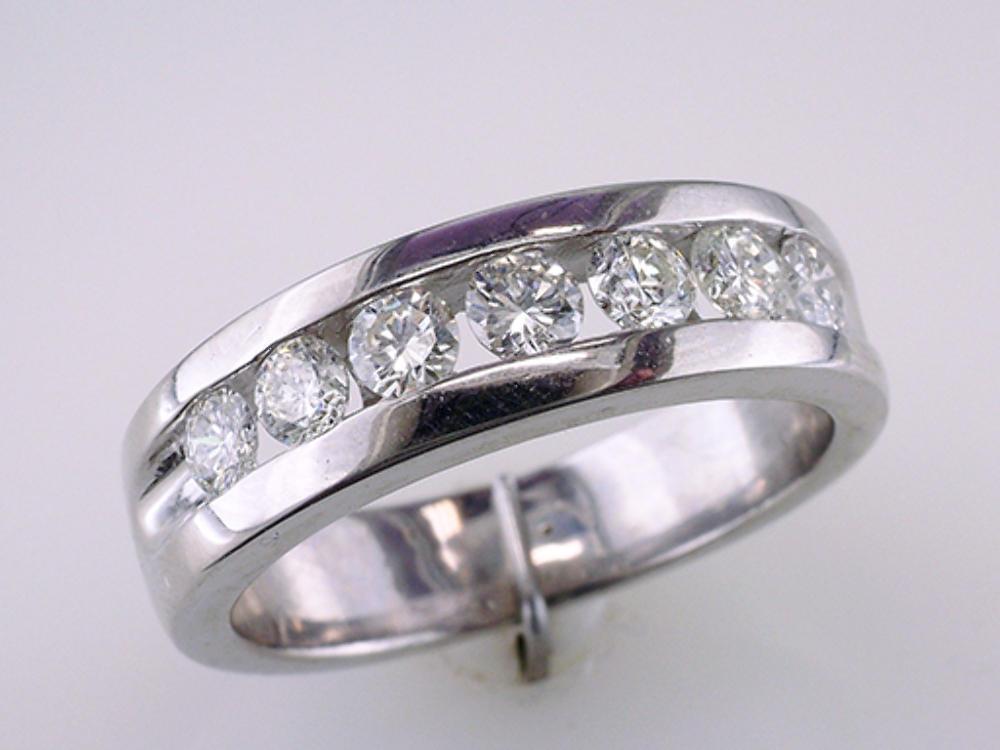 Men's 1ct Diamond 14k White Gold Wedding Band Ring