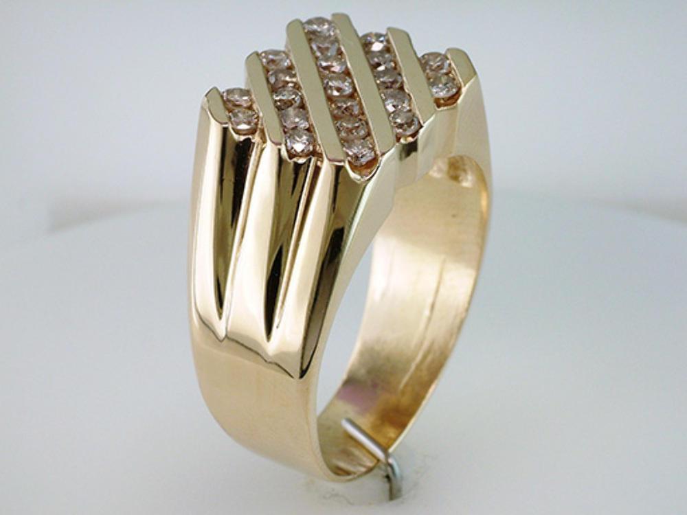 High Quality Mens 0.65ct Diamond 14k Yellow Gold Wedding Cocktail Ring