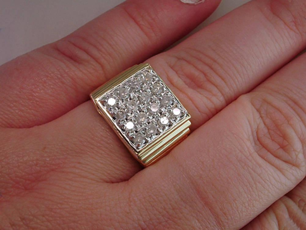 High Quality Mens 1.00ct Diamond Yellow Gold Wedding Cocktail Ring