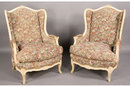 BEST PAIR PAINTED FRENCH BERGERE WING CHAIRS CARVED