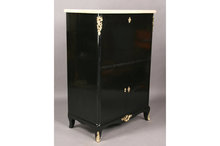 FRENCH EBONIZED MARBLE TOP ABATTANT CABINET CASE
