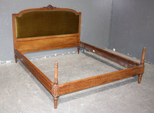 UPHOLSTERED FRENCH LOUIS XVI QUEEN BED CARVED J1938
