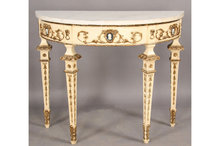 PAINTED ITALIAN DEMILUNE CONSOLE TABLE MARBLE TOP GILT