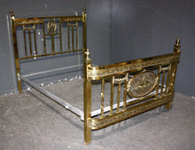 GREAT ART DECO FULL SIZE BRASS BED. WONDERFUL DETAIL!