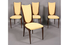 MID CENTURY MODERN SET FOUR DINING CHAIRS HIGH BACK