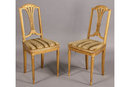 PAIR PAINTED FRENCH LOUIS XVI GILTWOOD SIDE CHAIRS 1920