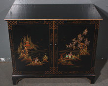 CHINOISERIE EBONIZED CABINET CHEST SERVER PAINTED