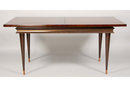 MODERN DINING TABLE WITH STEPPED APRON BRASS TRIM