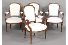 SET OF FOUR 4 BELLE EPOQUE FRENCH LOUIS XVI ARM CHAIRS
