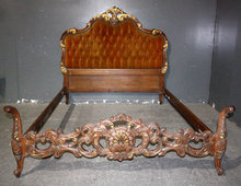 ORNATELY CARVED FRENCH LOUIS XV TUFTED FULL SIZE BED