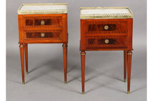 PAIR FRENCH LOUIS XVI END TABLES NIGHTSTANDS MARBLE TOP