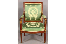 FRENCH EMPIRE ARM OPEN ARM CHAIR CARVED GILT CIRCA 1840