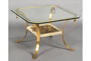 PAIR MID CENTURY MODERN GLASS TOP BRONZE END TABLES