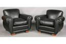 BEST PAIR FRENCH LEATHER UPHOLSTERED LOUNGE CHAIRS