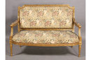 GILT PAINTED FRENCH LOUIS XVI CARVED SETTEE SOFA J6432B